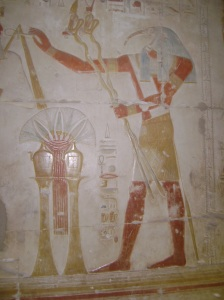Thoth with caduseus at Abydos